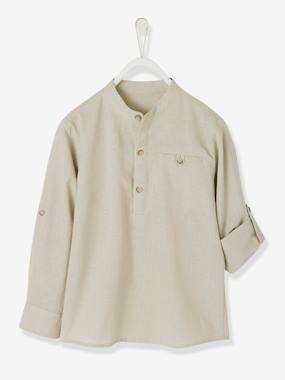 Boys-Shirts-Shirt in Linen/Cotton, Mandarin Collar, Long Sleeves, for Boys