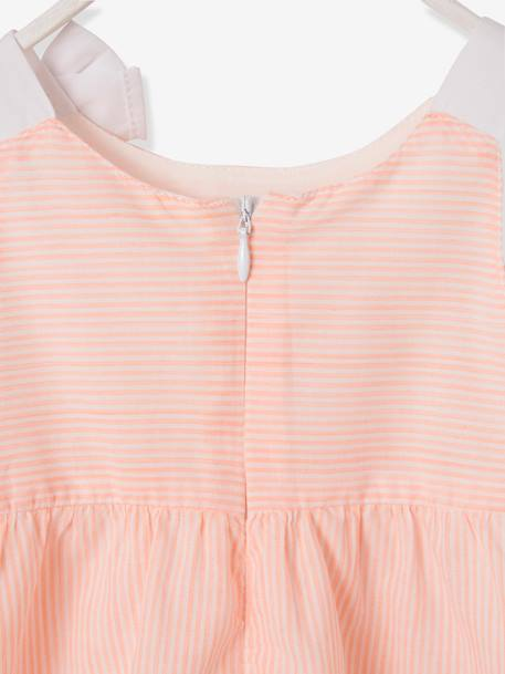 Occasion Wear Outfit: Dress + Hairband + Cardigan ORANGE BRIGHT STRIPED - vertbaudet enfant