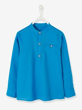 haut-Shirt in Linen/Cotton, Mandarin Collar, Long Sleeves, for Boys
