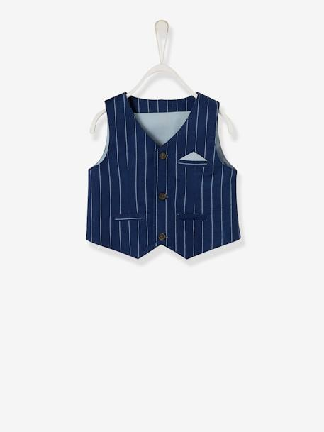 Baby Boys' Cardigan, Shirt, Bowtie & Trousers Outfit Set BLUE DARK STRIPED+Ink/grey/light blue - vertbaudet enfant