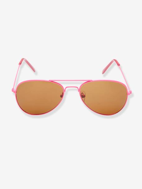 Aviator-Style Sunglasses for Girls PINK BRIGHT SOLID - vertbaudet enfant
