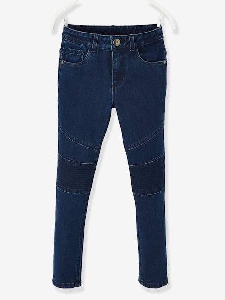 Indestructible Slim Leg Jeans for Girls BLUE DARK SOLID - vertbaudet enfant