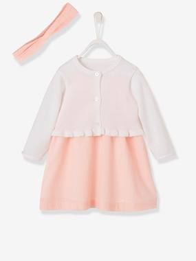 Baby-Dresses & Skirts-Occasion Wear Outfit: Dress + Hairband + Cardigan