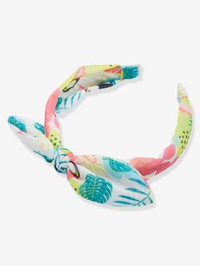 Girls-Accessories-Ribbon-Type Alice Band with Tropical Print for Girls