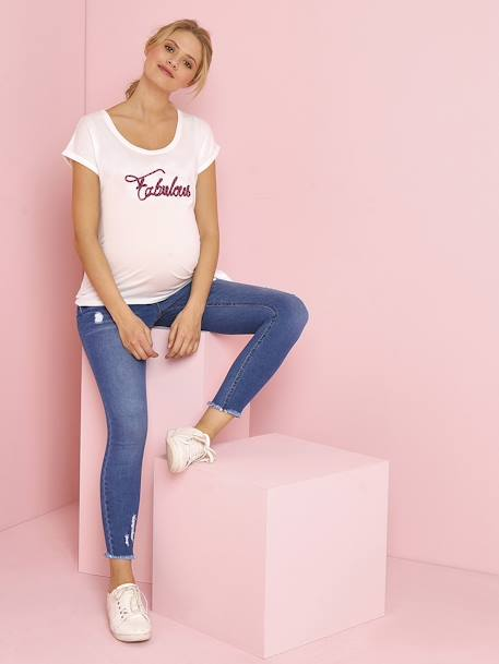 Maternity T-Shirt with Embroidered Message in Cord WHITE LIGHT SOLID WITH DESIGN - vertbaudet enfant