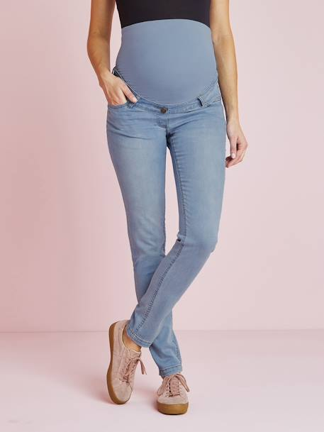 Maternity Slim Stretch Jeans - Inside Leg 30' BLACK DARK SOLID+BLUE DARK WASCHED+BLUE LIGHT WASCHED+Denim brut+GREY MEDIUM WASCHED+Light grey denim - vertbaudet enfant
