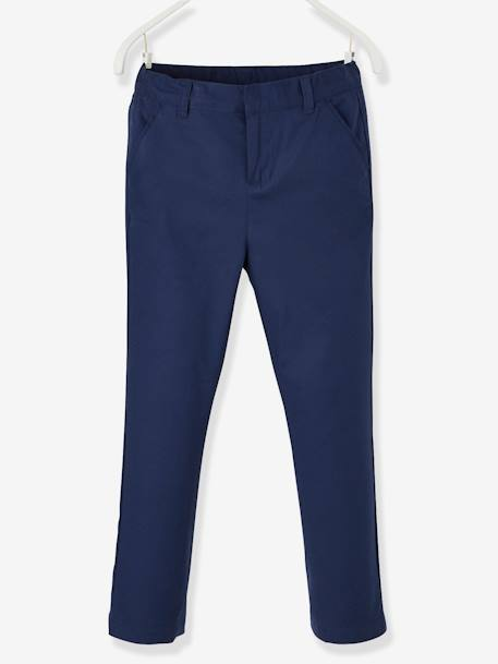 Cotton/Linen Chino Trousers for Boys BEIGE MEDIUM SOLID+BLUE DARK SOLID+GREY DARK SOLID+WHITE LIGHT SOLID - vertbaudet enfant