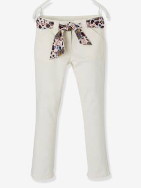 Girls-Trousers-Trousers with Scarf-like Printed Belt for Girls