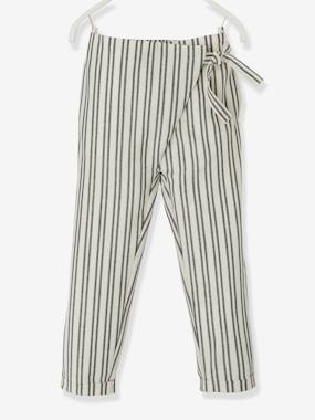 Vertbaudet Collection-Girls-Trousers-Striped Trousers with Crossover Sash to Tie, for Girls