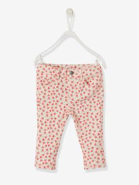 Baby-Trousers & Jeans-Slim Leg Trousers, Waistband with Press Studs, for Baby Girls