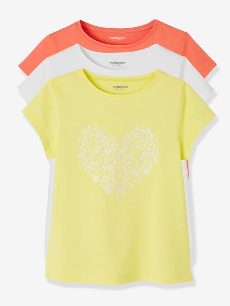 Pack of 3 Short-Sleeved T-Shirts for Girls GREEN LIGHT 2 COLOR/MULTICOLOR+PINK LIGHT 2 COLOR/MULTICOL R+YELLOW LIGHT SOLID WITH DESIGN - vertbaudet enfant