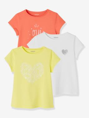 Girls-Tops-T-Shirts-Pack of 3 Short-Sleeved T-Shirts for Girls