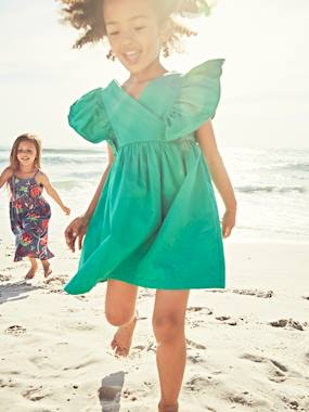 Festive favourite-Dress with Ruffles on the Sleeves for Girls