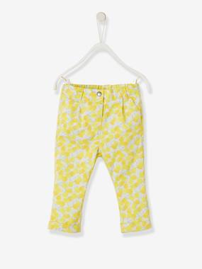 Baby-Trousers & Jeans-Trousers with Lemon Print for Baby Girls