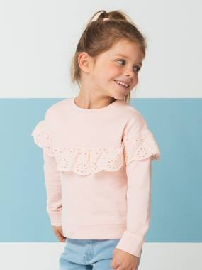 Girls-Cardigans, Jumpers & Sweatshirts-Sweatshirts & Hoodies-Sweatshirt for Girls, Broderie Anglaise Ruffle