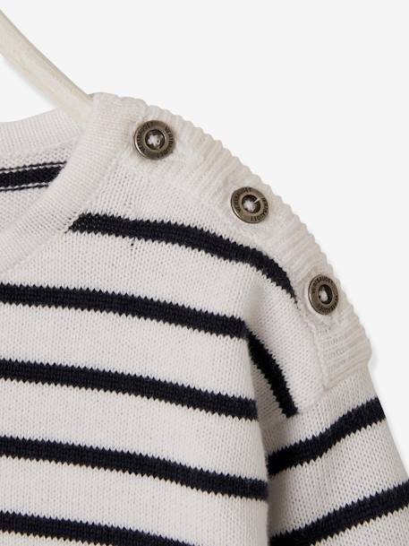 Knitted Striped Dress for Baby Girls BLUE DARK STRIPED - vertbaudet enfant