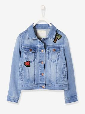 Girls-Coats & Jackets-Denim Jacket with Sequinned Patches, for Girls