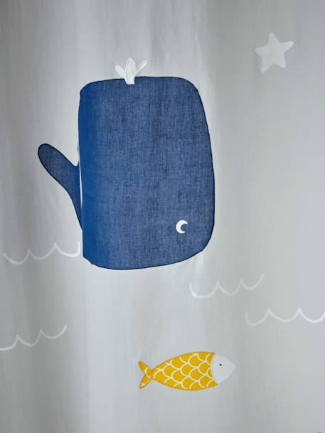 Curtain, Whale & Turtle Theme GREY MEDIUM SOLID WITH DESIGN - vertbaudet enfant