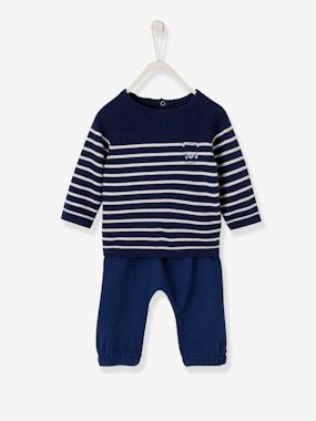 Baby-Outfits-Newborn Baby Ensemble, Striped Pullover & Trousers, Little Sailor