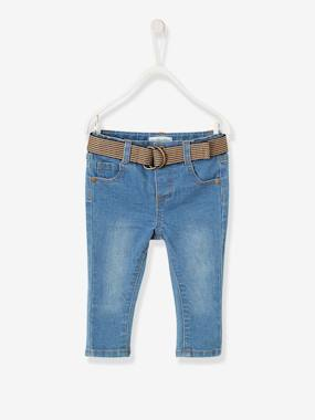 Baby-Trousers & Jeans-Slim Leg Jeans in Two-tone Fabric for Baby Boys