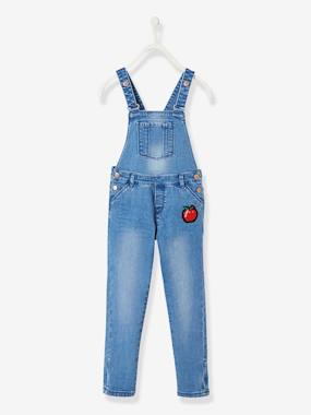 Girls-Dungarees & Playsuits-Denim Dungarees with Patches, for Girls
