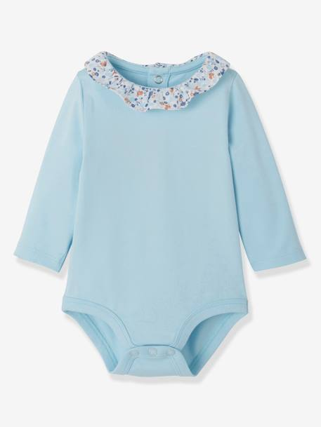 Pack of 2 Bodysuits with Fancy Collar for Newborns BLUE LIGHT TWO COLOR/MULTICOL - vertbaudet enfant