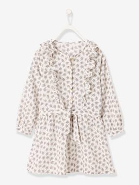 Vertbaudet Sale-Girls-Printed Dress with Ruffles, for Girls
