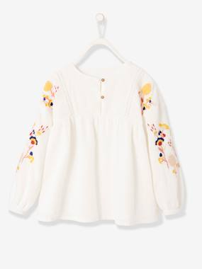 Girls-Blouses, Shirts & Tunics-Blouse with Embroidered Long Sleeves for Girls