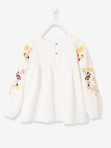 Blouse with Embroidered Long Sleeves for Girls WHITE LIGHT SOLID WITH DESIGN - vertbaudet enfant