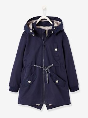 Girls-Coats & Jackets-Coats & Parkas-Parka with Detachable Hood for Girls