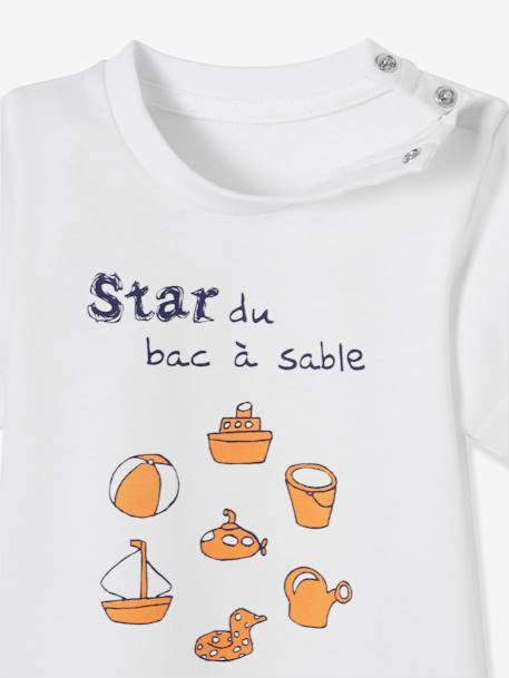 Baby Boys' Pack of 2 T-Shirts with Wording BLUE MEDIUM TWO COLOR/MULTICOL+GREEN MEDIUM 2 COLOR/MULTICOLR+WHITE LIGHT TWO COLOR/MULTICOL - vertbaudet enfant