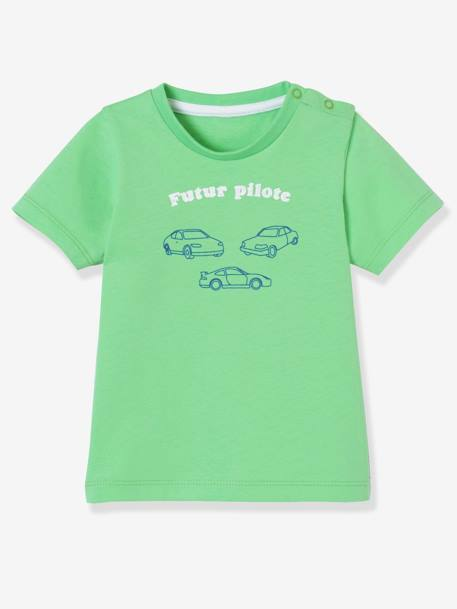 Baby Boys' Pack of 2 T-Shirts with Wording BLUE MEDIUM TWO COLOR/MULTICOL+GREEN MEDIUM 2 COLOR/MULTICOLR - vertbaudet enfant
