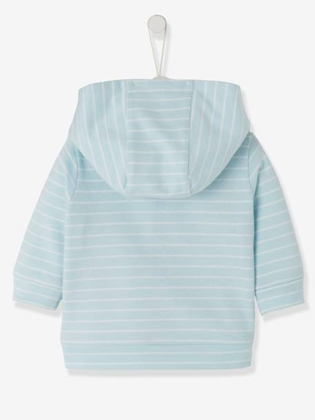 Striped Jacket, with Zip, for Baby Boys BLUE LIGHT STRIPED - vertbaudet enfant