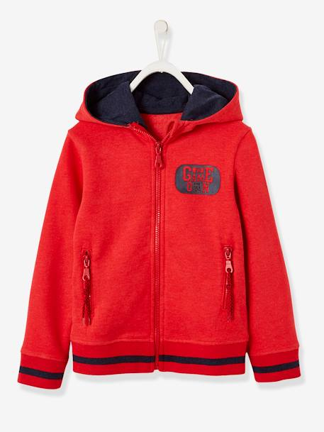 Sports Jacket with Zip for Boys BLUE DARK SOLID WITH DESIGN+GREY LIGHT MIXED COLOR+RED DARK SOLID WITH DESIGN - vertbaudet enfant