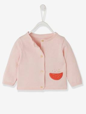 Baby-Jumpers, Cardigans & Sweaters-Cardigan for Babies, with Watermelon Pocket