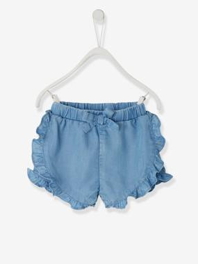 Baby-Shorts-Shorts with Frills, in Light Denim, for Baby Girls