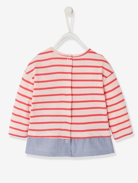 2-in-1 Sailor-Type Top for Baby Girls BLUE DARK STRIPED+RED LIGHT STRIPED - vertbaudet enfant