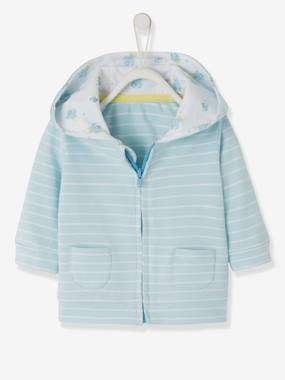 Baby-Jumpers, Cardigans & Sweaters-Striped Jacket, with Zip, for Baby Boys