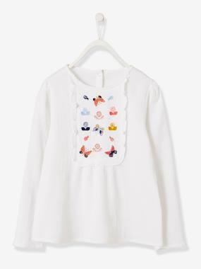 Girls-Blouses, Shirts & Tunics-Embroidered Blouse with Stylish Ruffles for Girls