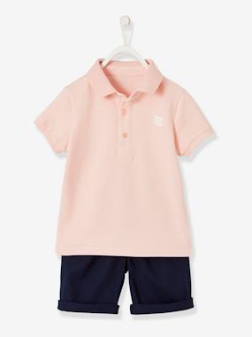 Boys-Tops-T-Shirts-Polo Shirt + Bermuda Shorts Ensemble for Boys
