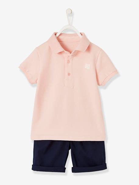 68d71cfa Polo Shirt + Bermuda Shorts Ensemble for Boys - pink light solid, Boys