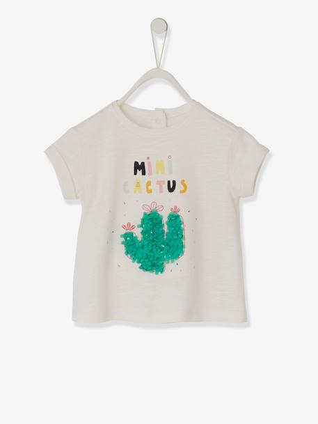 Mini Cactus' T-Shirt, for Baby Girls WHITE LIGHT SOLID WITH DESIGN - vertbaudet enfant