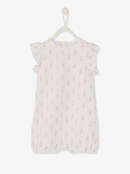 Printed Playsuit for Baby Girls WHITE LIGHT ALL OVER PRINTED - vertbaudet enfant