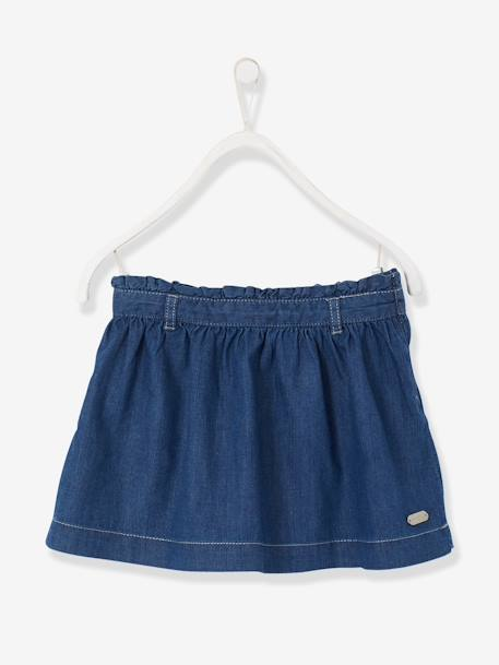 Girls' Chambray Skirt Stone - vertbaudet enfant