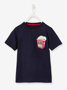 Boys-Tops-T-Shirts-T-Shirt with Popcorn Motif for Boys