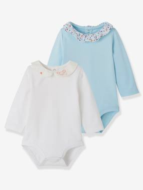 Basics and Multipacks-Baby-Pack of 2 Bodysuits with Fancy Collar for Newborns
