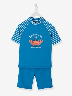 Boys-Swim & Beachwear-UV Protection Swimsuit Set for Boys, Fun Crab Motif
