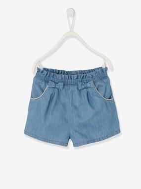 Girls-Shorts-Denim Shorts with Pretty Bows, for Girls