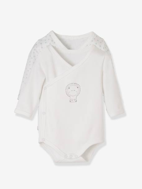 Pack of 2 Organic Cotton Bodysuits for Newborns BEIGE LIGHT ALL OVER PRINTED+BEIGE LIGHT STRIPED+BEIGE MEDIUM ALL OVER PRINTED - vertbaudet enfant