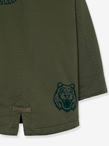 Parka with Hood, Patches & Motifs, for Boys GREEN DARK SOLID WITH DESIGN - vertbaudet enfant
